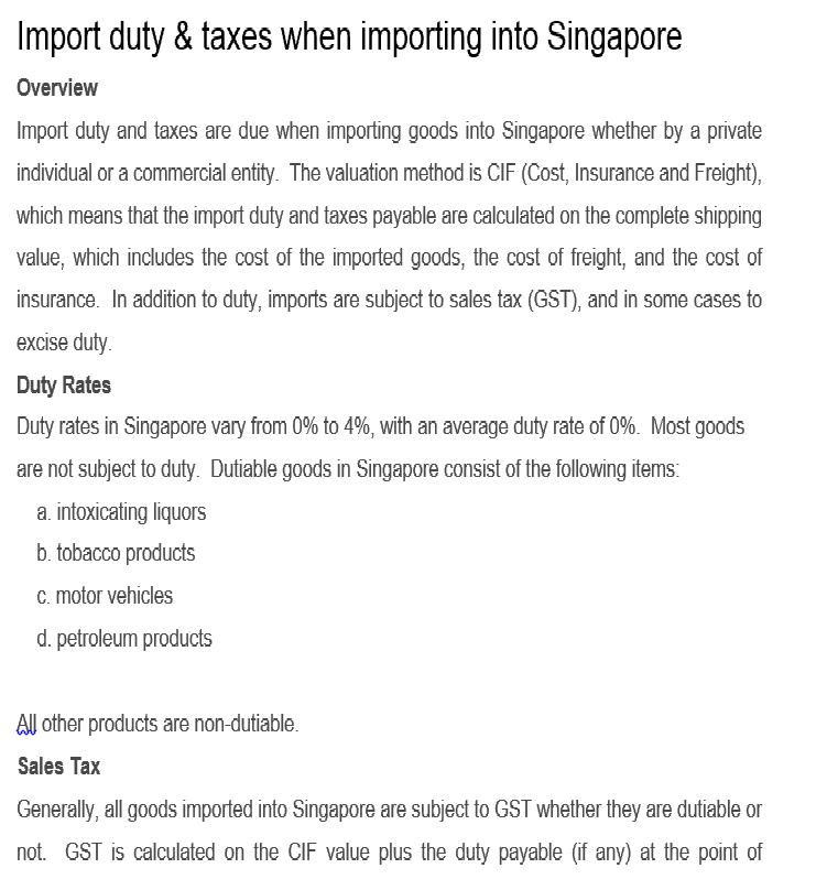 Custom Advice for Courier to Singapore from Mumbai India